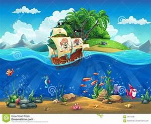Cartoon Underwater World With Fish, Plants, Island And ...