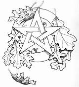 Coloring Pentacle Wiccan Pagan Pentagram Tattoo Leaf Adult Oak Adults Goddess Yule Printable Witch Autumn Celtic Witchcraft Deviantart Sheets Getdrawings sketch template