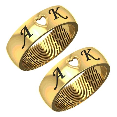 get wedding anniversary name engraved fingerprint ring