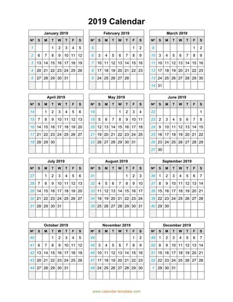 calendar template page