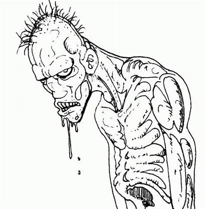 Coloring Scary Pages Adults Zombie Monster Drawing