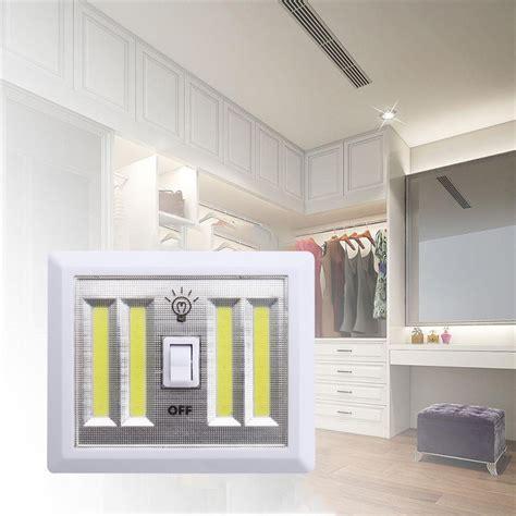 4x cob led bulb night light wall switch self stick closet