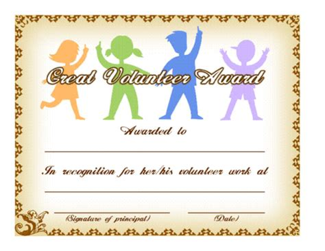 volunteer certificate template great volunteer award template education world