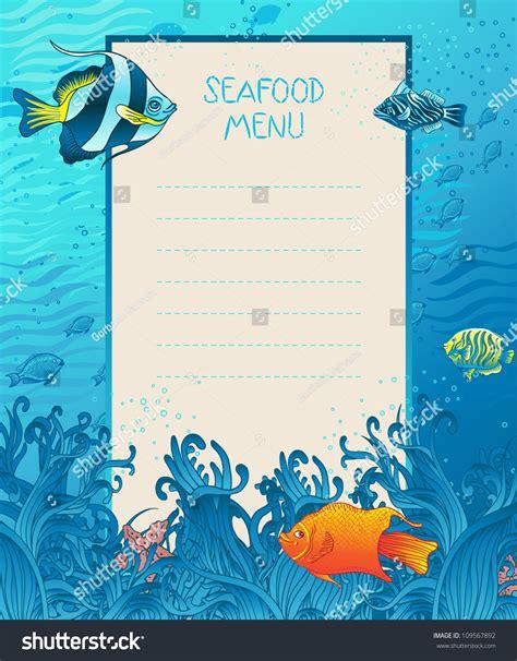 seafood menu design background template marine stock