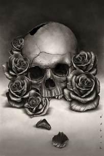 Realistic Skulls and Roses Drawings