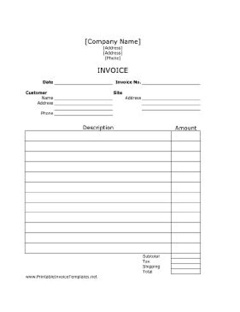 printable job invoice  plenty  room  describe