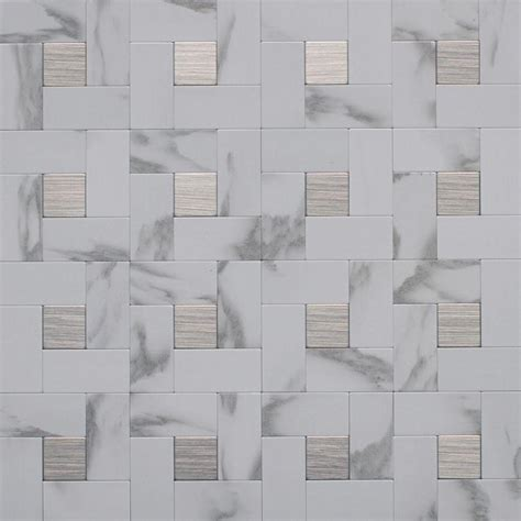 faux wall tile instant mosaic 12 in x 12 in peel and stick faux white