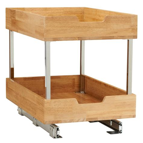 Kitchen Cabinet Organizers Wood by 14 5 In 2 Tier Pull Out Wood Cabinet Organizer 24521 1