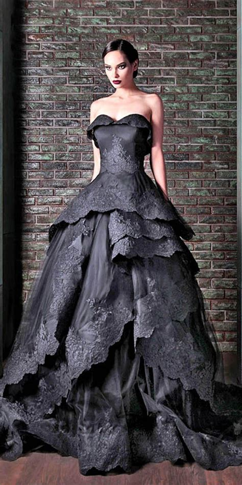 21 black wedding dresses with edgy elegance wedding