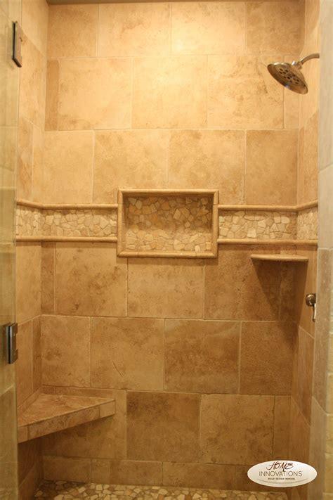 beige tumbled travertine tile master bathroom visit