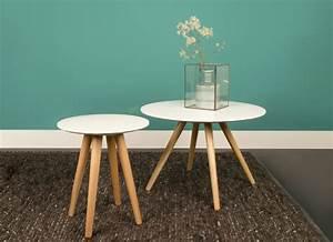 Table Bois Pied Blanc : table basse ronde blanche et bois design en image ~ Teatrodelosmanantiales.com Idées de Décoration