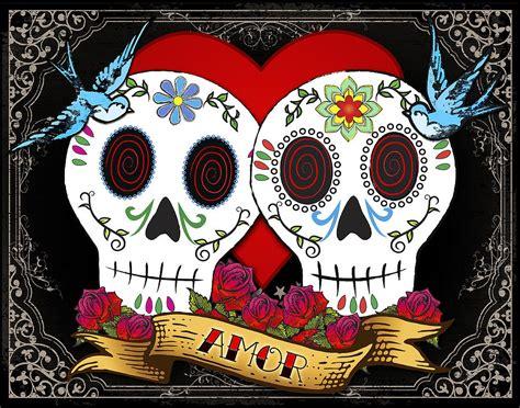 sugar skull wall skulls ii digital by tammy wetzel
