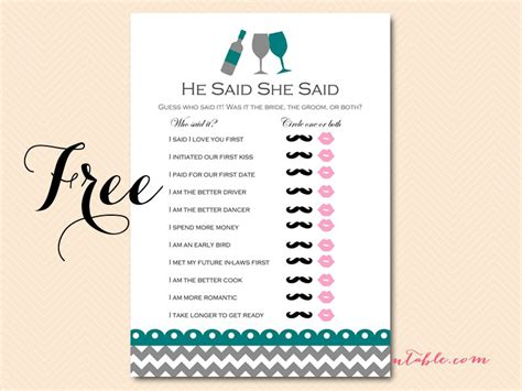 He Said She Said Bridal Shower Template by Free Wined Themed Bridal Shower Pack Magical Printable