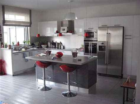 decoration cuisine kitchen idea white grey chic interior design