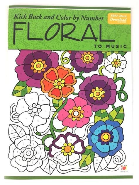 adult coloring book color  number floral kick