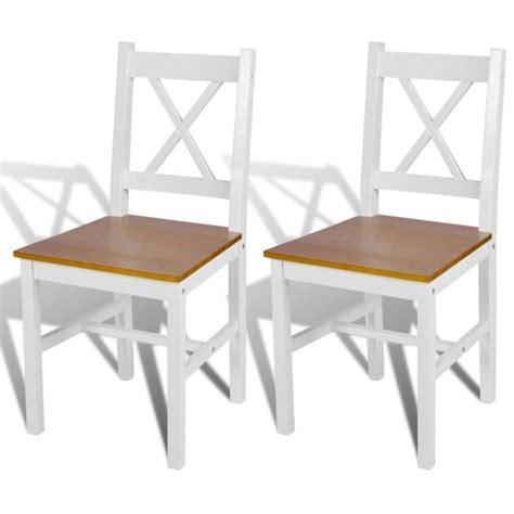 chaises blanc et bois 2 pcs chaise salle 224 manger en bois blanc et naturel achat vente chaise cdiscount