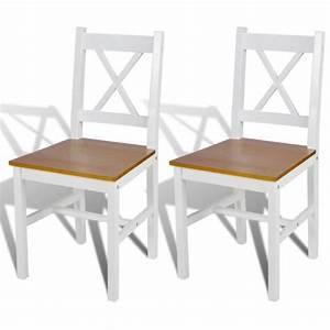 2 pcs chaise salle a manger en bois blanc et naturel With salle À manger contemporaineavec chaise en promo