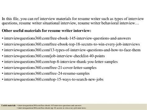 resume writer interview questions and answers