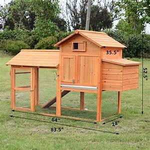 Pawhut Deluxe Backyard Chicken Coop W Outdoor Run