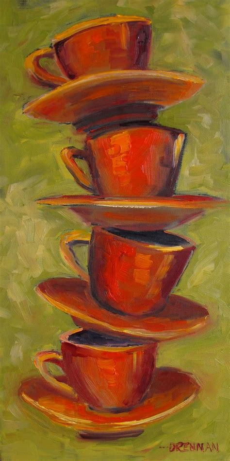 This painting has a very unique and eye catching background and i hope that i can teach it to you to make it easy! paintings of coffee cups | Cup Stack....Oil painting ...