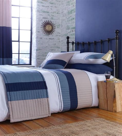 blue beige white striped boys bedding bed linen or