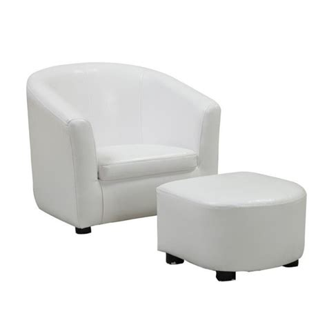 chair and ottoman set in white faux leather i 8104