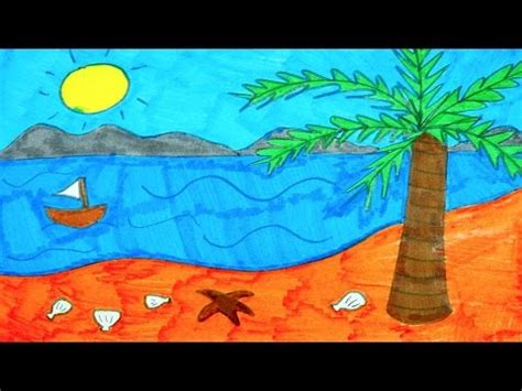 Boat On Beach Drawing by How To Draw The Beach Ocean Tree Sun And Boat Kids