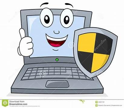 Virus Antivirus Clipart Laptop Protection Shield Cartoon