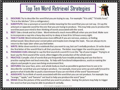 speech language literacy llc top ten list word retrieval strategies
