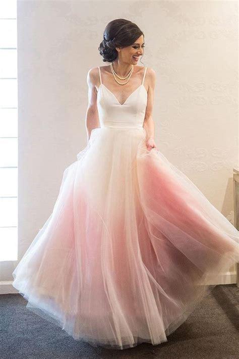 Fashion Spaghetti Strap Pink Ombre Tulle Elegant Long Prom ...