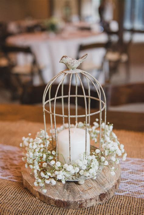 Birdcage Candle Babys Breath Rustic Centerpiece On A