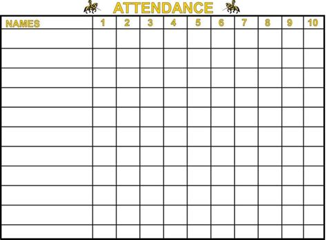 printable sunday school attendance charts attendance