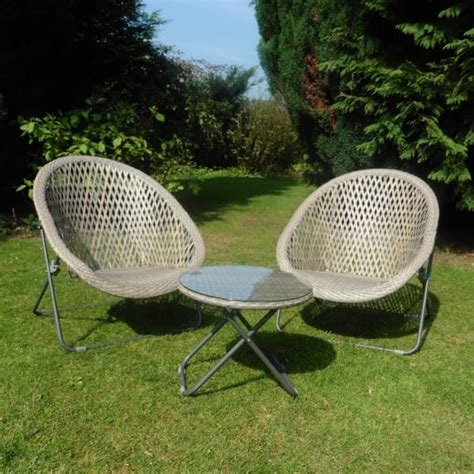 Taupe Faux Rattan Garden Lounger & Bistro Set