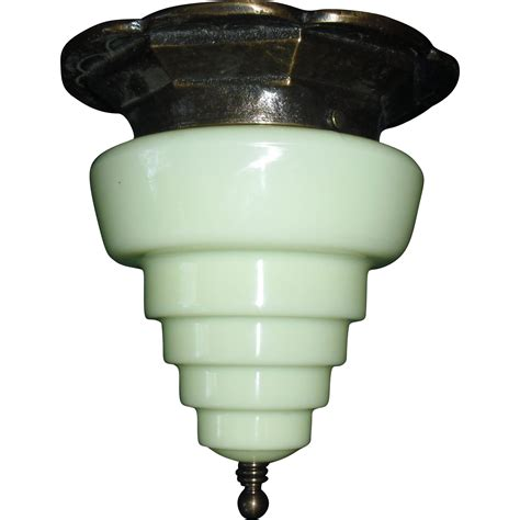 deco flush mount ceiling light step shade in bronze