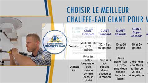 3 Prix Pour Chauffe-eau Giant
