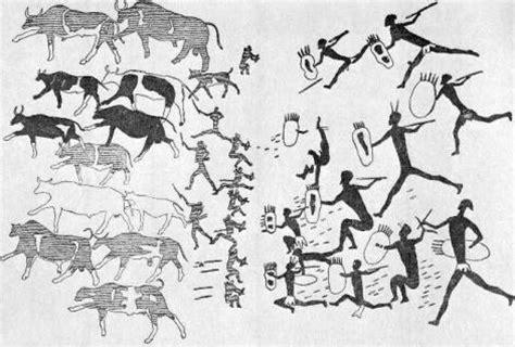 hoehlenmalerei buschmaenner verteidigen rinderher
