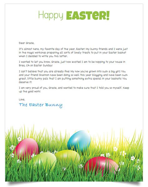 Letter To Easter Bunny Template by Free Personalized Letter From The Easter Bunny