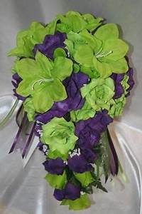 Bridal Bouquet Package Lime Green Purple Silk Wedding