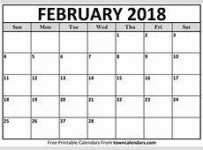 February 2018 Calendar Printable Template PDF with
