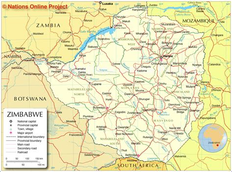 administrative map  zimbabwe nations  project