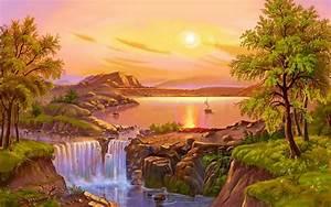 beautiful, landscape, summer, painting, river, lake, waterfall