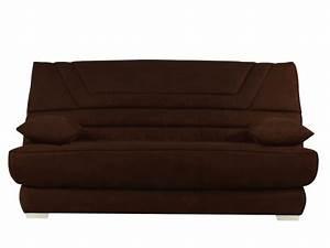 banquette clic clac matelas bultex tissu chocolat tulsa With tapis de marche avec housse de canapé rouge 3 places