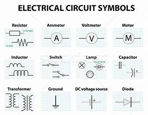 Common Circuit Diagram Symbols Vector Illustration