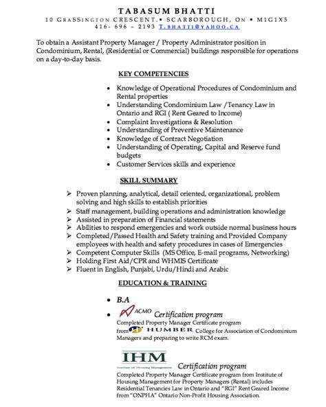 assistant property manager resume exle resumes design