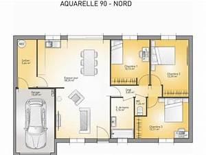 modele de maison aquarelle 90 debord toiture plate With nice plan de maison neuve 3 maison neuve plain pied modale paysanne