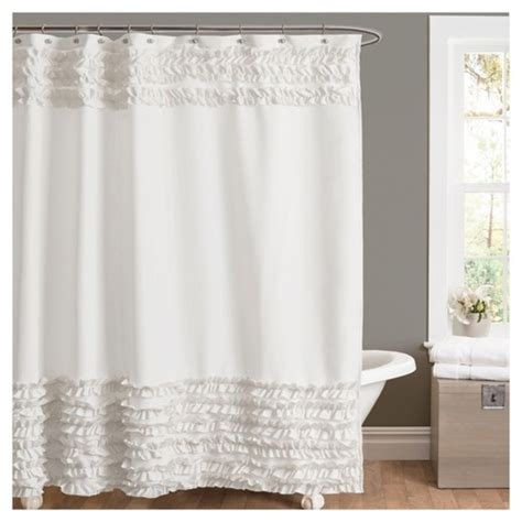 amelie ruffle shower curtain 72 x72 quot white lush decor