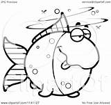 Drunk Goldfish Cartoon Clipart Coloring Outlined Vector Cory Thoman Regarding Notes sketch template