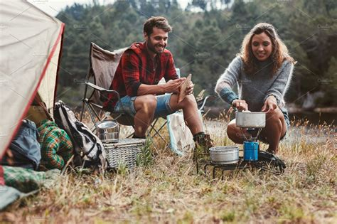 young couple camping high quality people images