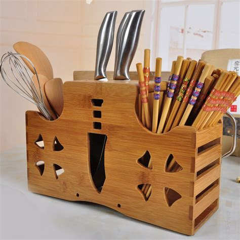 creative kitchen knives multifunction bamboo knife rack chopping blocks fork