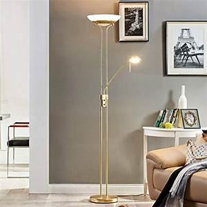 Stehlampe Für Wohnzimmer : led stehlampe yveta dimmbar in messing aus glas u a f r wohnzimmer esszimmer 1 flammig a ~ Frokenaadalensverden.com Haus und Dekorationen
